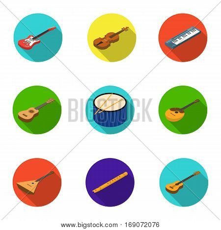 Musical instruments set icons in flat design. Big collection of musical instruments vector symbol stock illustrationCar