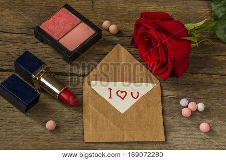 Postcard With Text I Love You, Red Lipstick, Rouge, Rose Flower And Shells