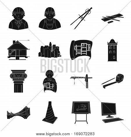 Architect set icons in monochrome design. Big collection of architect vector symbol stock illustration