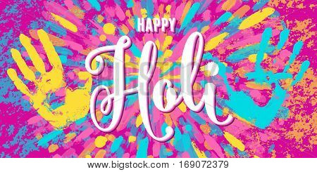 Vector illustration of happy holi festival of colors greeting horizontal banner with lettering text sign, grunge handprints