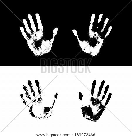 Vector illustration of grunge human handprints on black and white background