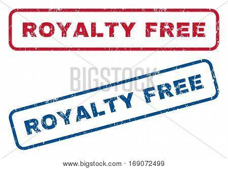 Royalty Free text rubber seal stamp watermarks. Vector style is blue and red ink caption inside rounded rectangular shape. Grunge design and scratched texture. Blue and red signs.