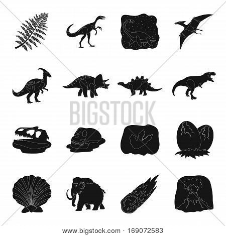 Dinosaurs and prehistoric set icons in black design. Big collection of dinosaurs and prehistoric vector symbol stock illustration