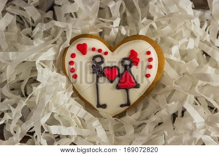 Valentine Red Cookies With Heart Shape, Picture Of Couple
