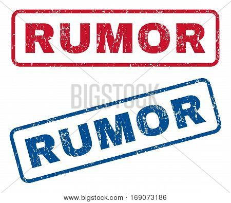 Rumor text rubber seal stamp watermarks. Vector style is blue and red ink tag inside rounded rectangular banner. Grunge design and dust texture. Blue and red signs.