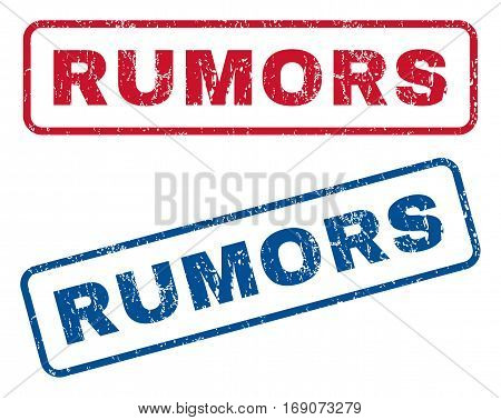 Rumors text rubber seal stamp watermarks. Vector style is blue and red ink tag inside rounded rectangular banner. Grunge design and dirty texture. Blue and red signs.