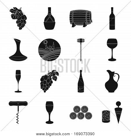 Wine production set icons in black design. Big collection of wine production vector symbol stock illustration