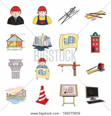 Architect set icons in cartoon design. Big collection of architect vector symbol stock illustration