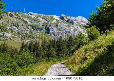 Stunning view of the peak Santis (Saentis) on the hiking path from the valley Canton of Appenzell Switzerland