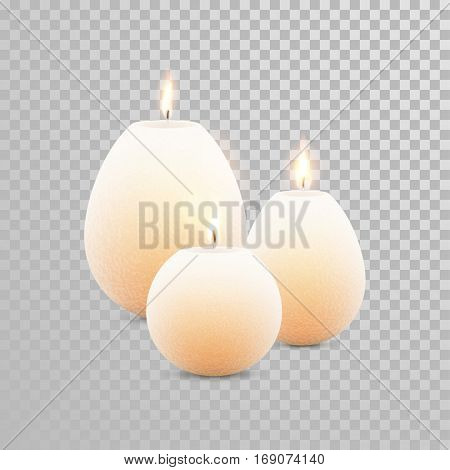 Decorative white pearl color candles set. Vector 3D realistic isolated round candle sticks with burning flames on transparent background. Wedding decoration white or beige element design