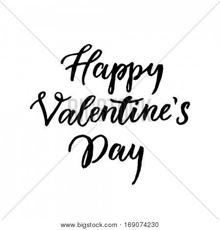 Valentine Day hand drawn text calligraphy for greeting card with black calligraphic vector font on white background. Happy Valentines day 14 February heart love congratulation art design