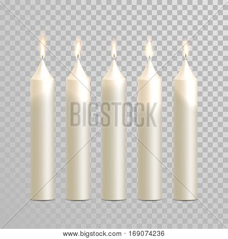 Decorative white candles set. Vector 3D realistic isolated round cylindrical candle sticks with burning flames on transparent background. Wedding decoration white or beige element design