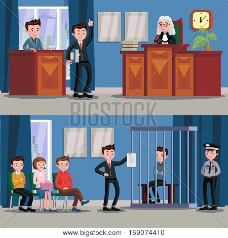 Law system horizontal banners with people at judicial session in courthouse vector illustration