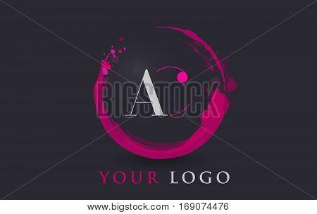 AC Circular Letter Brush Logo. Pink Brush with Splash Concept Design.