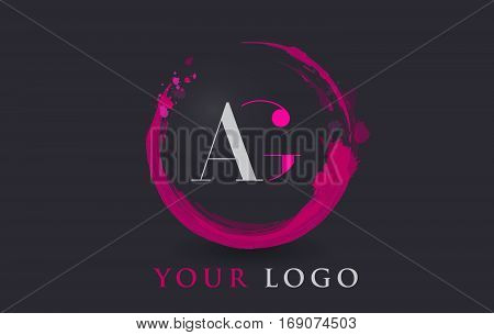 AG Circular Letter Brush Logo. Pink Brush with Splash Concept Design.