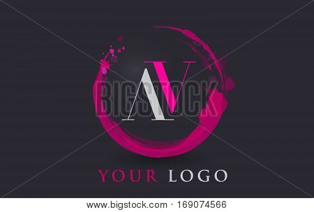 AV Circular Letter Brush Logo. Pink Brush with Splash Concept Design.