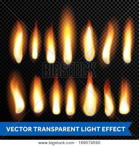 Burning flames of fire, glowing candle lights, flaming campfire or fireplace burn. Vector isolated set on transparent background