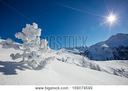 Winter mountains panorama with ski slopes. Austria.