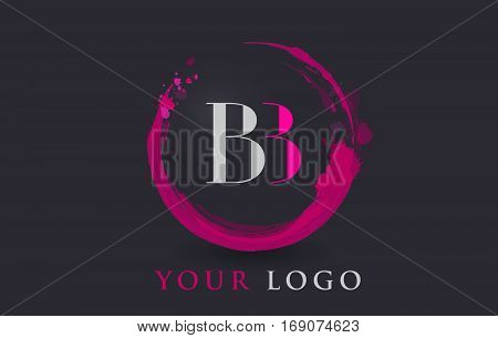 BB Circular Letter Brush Logo. Pink Brush with Splash Concept Design.