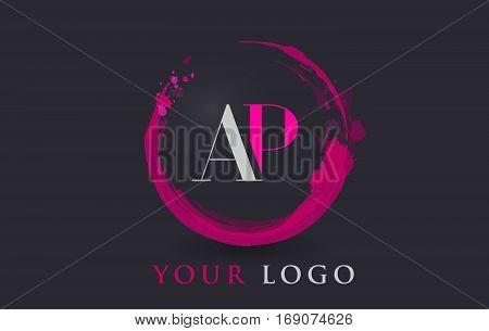 AP Circular Letter Brush Logo. Pink Brush with Splash Concept Design.