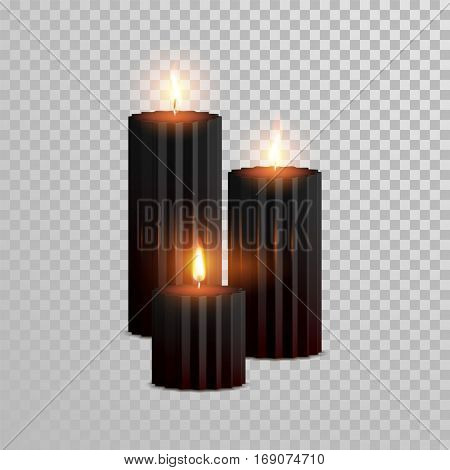 Vector candles with burning flames of black wax paraffin