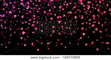 Hearts pattern for Valentines day. Pink hearts petals falling on black background for Saint Valentine Day greeting card design. Flower petal in shape of heart confetti