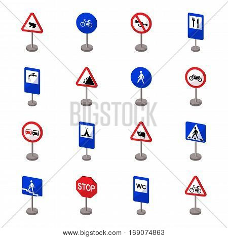 Road signs set icons in cartoon design. Big collection of road signs vector symbol stock illustration