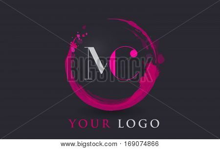 MC Circular Letter Brush Logo. Pink Brush with Splash Concept Design.