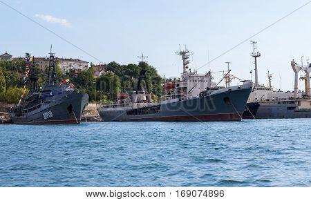 Sevastopol, Russia - June 09, 2016: Black Sea Fleet warships are on the quay of the Sevastopol Bay.