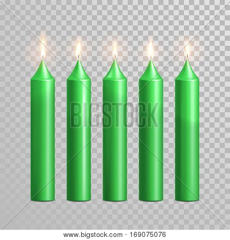 Aromatic green candles. Vector 3D realistic burning blue candle set with flames. Isolated round cylindrical shape candle on transparent background. Wedding, birthday decoration element design