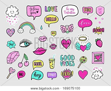 Vector Hand Drawn Fashion Patches For Happy Valentines Day. Rainbow, Cloud, Doughnut, Cake, Camera,