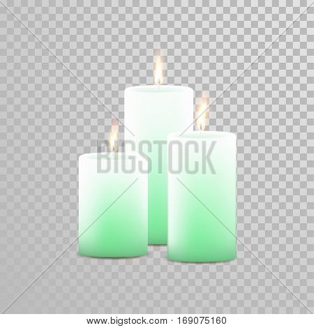 Decorative candles set. Vector 3D realistic isolated round cylindrical festive candle sticks with burning flames on transparent background. Decoration white or beige element design