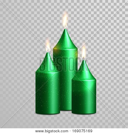Aromatic green candles. Vector 3D realistic burning blue candle set with flames. Isolated gold glitter candle on transparent background. Wedding, birthday decoration element design