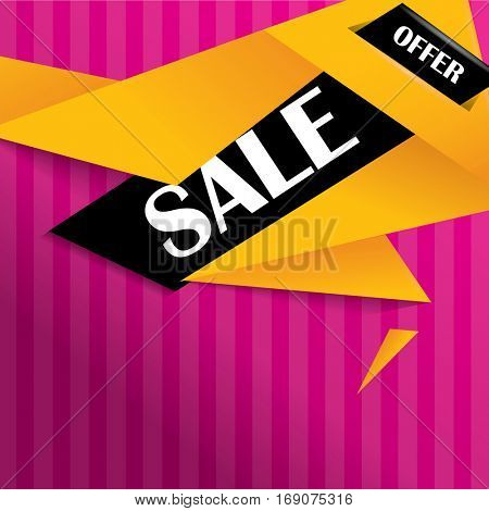 Sale banner on colorful background and origami style vector design