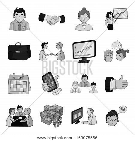 Conference and negetiations set icons in monochrome design. Big collection of conference and negetiations vector symbol stock illustration