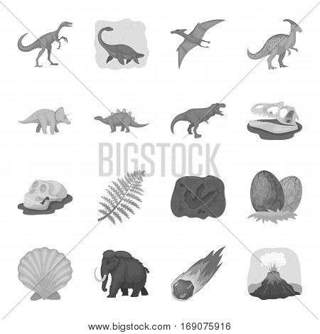 Dinosaurs and prehistoric set icons in monochrome design. Big collection of dinosaurs and prehistoric vector symbol stock illustration