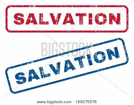 Salvation text rubber seal stamp watermarks. Vector style is blue and red ink caption inside rounded rectangular banner. Grunge design and unclean texture. Blue and red stickers.