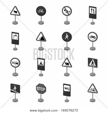 Road signs set icons in monochrome design. Big collection of road signs vector symbol stock illustration