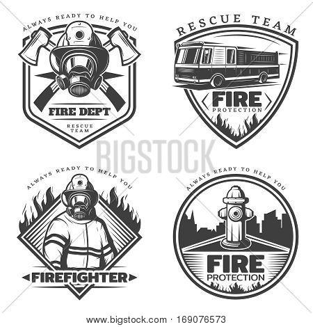 Vintage firefighting emblems set with fireman fire engine hydrant and equipment in monochrome style isolated vector illustration