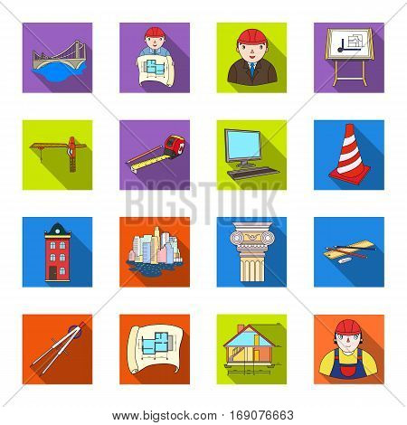 Architect set icons in flat design. Big collection of architect vector symbol stock illustration