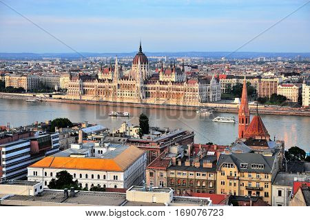 BUDAPEST HUNGARY - MAY 23: Top view of Budapest urban skyline on May 23 2016. Budapest is the capital and largest city of Hungary.