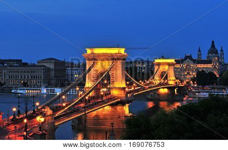 BUDAPEST HUNGARY - MAY 23: Night view of Chain bridge in Budapest on May 23 2016. Budapest is the capital and largest city of Hungary.