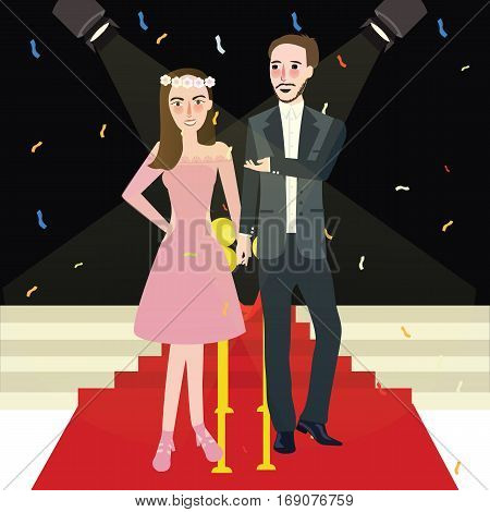 man and woman couple in red carpet gala night vector illustration