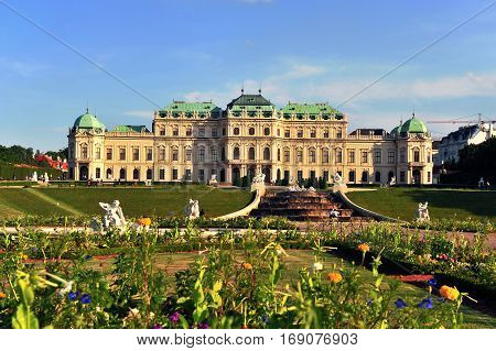 VIENNA, AUSTRIA - JUNE 6: Summer view of Belvedere palace and garden in Vienna city on June 6, 2016. Belvedere is an historic building complex located in Vienna city, Austria.