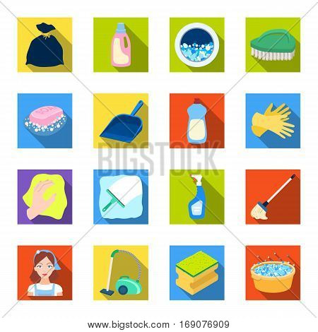 Cleaning set icons in flat design. Big collection of cleaning vector symbol stock illustration