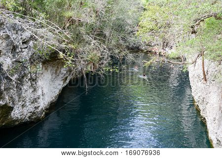 Giron Cuba - 20 january 2016: people swimming on a cenote at Giron on Cuba