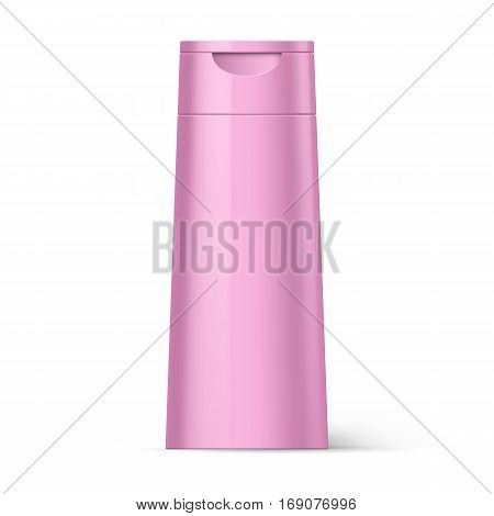 Pink Bottle of Shampoo Packaging Isolated at White Background