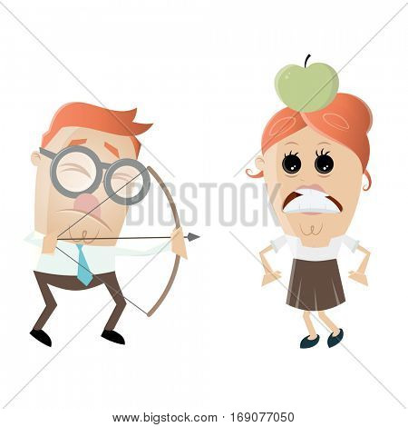 visually impaired man aiming at a woman with an apple on her head