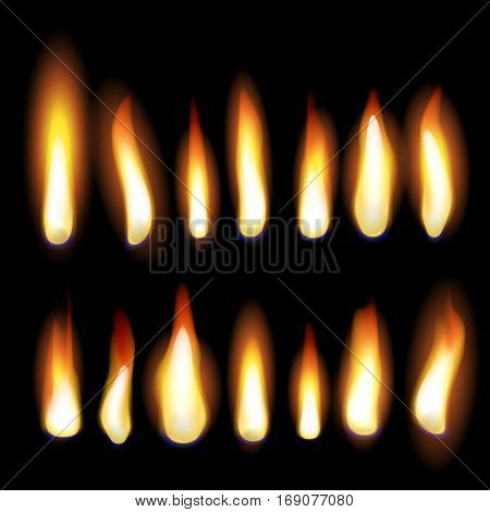 Burning flames of fire, glowing candle lights, flaming campfire or fireplace burn. Vector set on black background