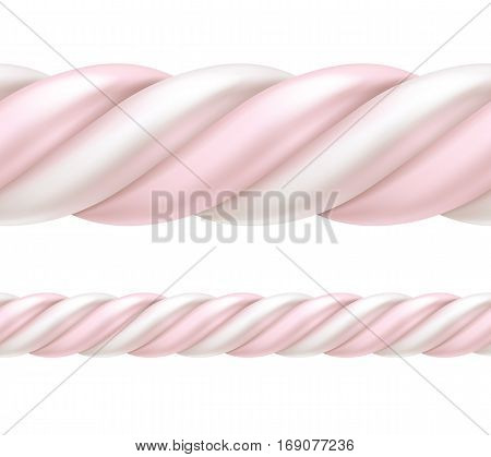 Twisted white and pink marshmallow border. Seamless horizontal sweets pattern. Vector illustration.